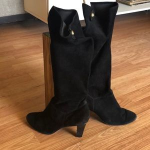 COACH Black Suede Slouch/Stretch Boots/Booties 8